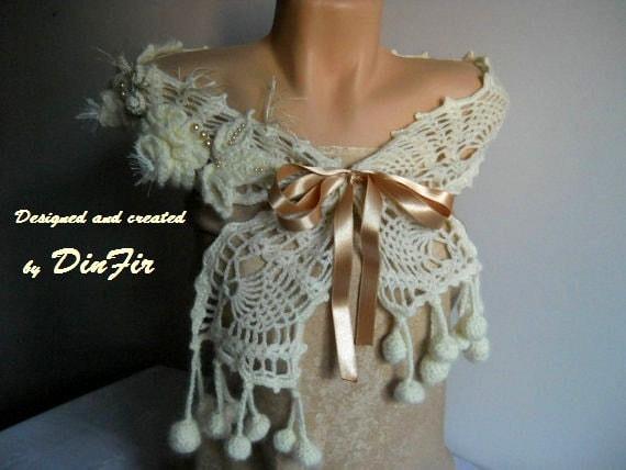 BRIDESMAID WOOL SCARF / Wedding Bridal Accessories Scarves Flowers Gift Ideas Elegant Crochet / Women Romantic Hand Knitted Feminine Fashion