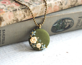 Embroidered Pendant, Green Flower Necklace, Eco friendly jewelry