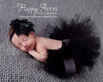NEWBORN/BABY BLACK tutu with vingtage style headband, Halloween tutu, baby tutu, newborn tutu, newborn photography prop
