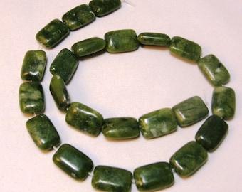 "Green Jasper Gemstone Rectangle Beads 16"" Strand"