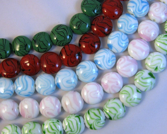 "Glass Puffed Coin Beads 1 - 16"" Strand You Choose Color"