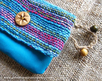 Coin Purse in Blue Knit Woven Yarn, Pink and Violet Mini Pouch Wallet
