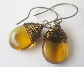 Topaz Earrings November Birthstone Earrings Yellow Jewelry Yellow Wire Wrapped Earrings Wire Wrapped Jewelry Handmade Birthstone Jewelry
