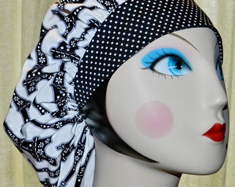 Retro Eiffel Tower Banded Bouffant Surgical Cap