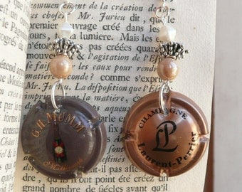 Authentic french upcycled champagne caps earrings - eco friendly - your choice - beaded - choose your pair mismatched or not