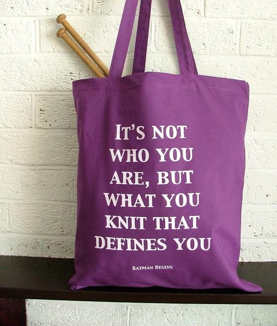 Purple Project Bag Reusable Shopping Bag - knitting defines you, Batman, yarn bag
