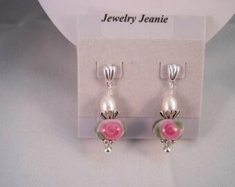 Rose Flower Lampwork, Freshwater Pearl, Sterling Silver Earrings  ES636