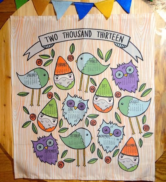 2013 tea towel fabric calendar / gnomes, owls, little birds
