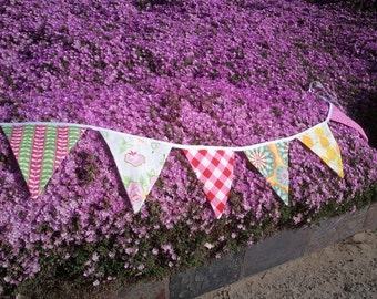 Fabric Bunting Banner - English Tea Party Fabric Celebration - Birthday, Engagement Party -  Baby, Brididal Shower - Wedding - Photo Prop