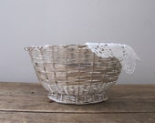 Vintage Woven Silver Basket, Rustic Home Decor