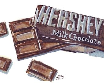 Watercolor Painting - Hersheys Chocolate Bar Watercolor Art Print, 8x10