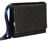 iPad Messenger Bag Padded - Large Black Herringbone Messenger Bag