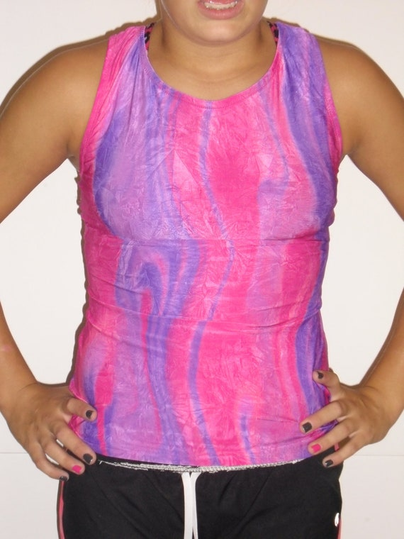 Pink and purple spandex racer back exercise tank