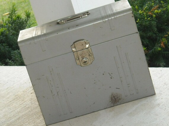 Retro Industrial File Cabinet Grey Metal Heavy Sturdy Paperwork Filing