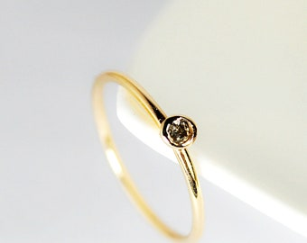 solitaire- diamond and 8k gold ring-free shipping-made to order
