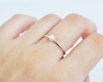 simple thin pearl ring - free shipping