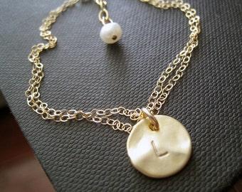 Gold initial bracelet, personalized bracelet, custom initial jewelry, adjustable chain, personalized jewelry gift for her, monogram bracelet