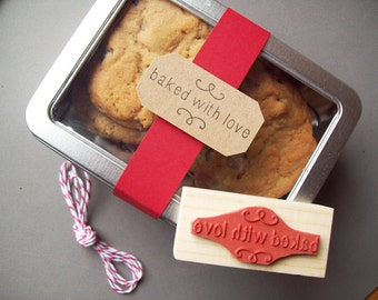Baked with Love Stamp - Make Treat Tags, Christmas Holiday Pretty Packaging Rubber Stamp