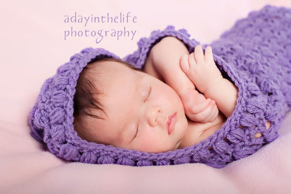 Lacy Cuddle Cocoon with Hood pdf PATTERN bunting photo prop