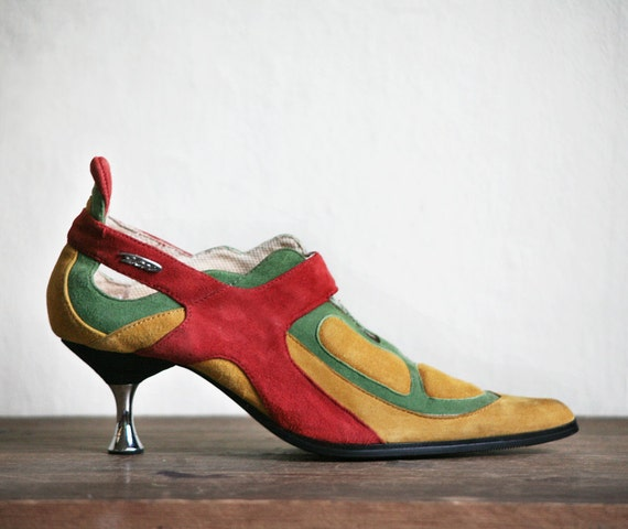 Suede Heels - Mustard Orange Green Avant-Garde cutout ornamented Shoes size 6