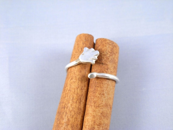 Hamsa boho Adjustable Ring.Handmade Knuckle /Toe Adjustable  Ring.Sterling Silver Open Ring . - ElenadE