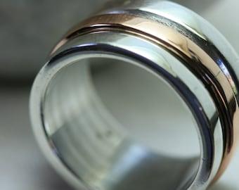 Swivel Ring , Sterling Silver Ring , 14k Gold Ring , Handmade Ring , Unisex Ring, Spinning Ring, Unisex Jewelry