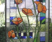 "California Poppies With Geometric--19"" x 37""--Stained Glass window Panel"
