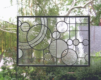 """Arts and Crafts Style Circle Study --11.75"""" x 17""""--Stained Glass Window Panel"""