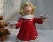 Mint Vintage Goebel West Germany Porcelain Christmas Holiday Angel Candle Holder Figurine 1975 42006-76 Frobek RARE Medium Size