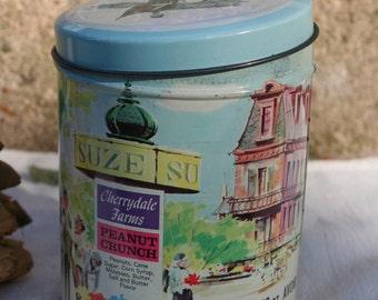 Cherrydale Farms Peanut Crunch Scenes of Romantic Paris France Eiffel Tower Gendarme Candy Tin E. Cherry Sons Philadelphia