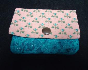 Pocket Wallet  Pink and Aqua