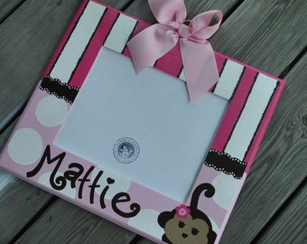 MATTIE MONKEY Handpainted and Personalized Picture Frame - Girl Monkey Decor - Nursery frame