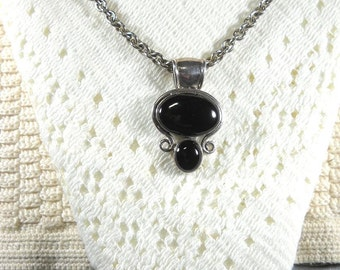 Gorgeous Sterling and Obsidian Pendant