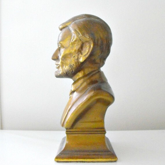 Vintage Brass  BUST of LINCOLN Bookend By M. Brady  Made by Philadelphia Manufacturing USA