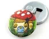 Bottle Opener Magnet with the Mushroom Art