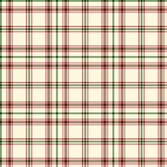 Cream Green and Red Plaid Flannel, Yarn Dye Flannel for Henry Flannel, 1 yard