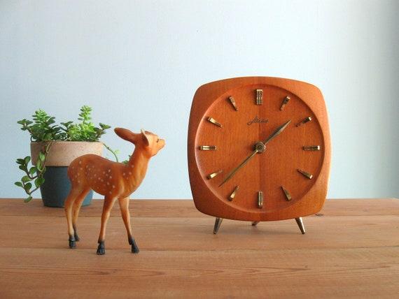 mid mod  clock / 50s 60s vintage Mid Century Modern Teak & Brass desk clock ...Haid Germany / Kienzle
