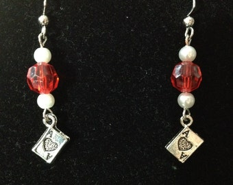 Black or Red and White Playing Card Earrings