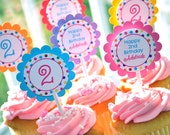 Birthday Cupcake Toppers - Birthday Party Decorations - 1st Birthday Cupcake Toppers - Colorful Polkadots - Rainbow Birthday - Set of 12
