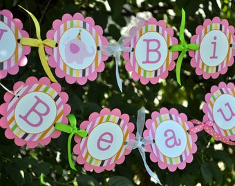 Happy Birthday Banner - Elephant and Giraffe Stripes - Birthday Party Decorations - Personalized Banner