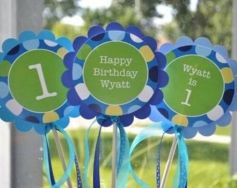 3 Centerpiece Sticks - Boys 1st Birthday - Blue Polkadots - Personalized Birthday Party Decorations