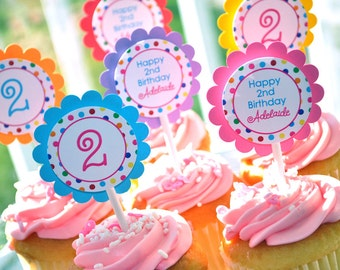 12 Birthday Cupcake Toppers - 1st, 2nd, 3rd Birthday - Colorful Polkadots - Birthday Party Decorations