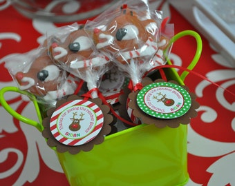 Reindeer Birthday Party Favor Tags - Holiday, Winter Birthday Party Favor Tags - Christmas Party Decorations - Set of 12