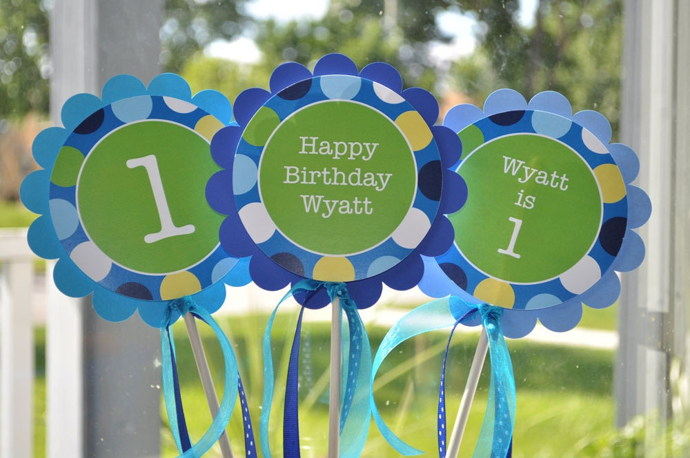 3 Centerpiece Sticks Boys 1st Birthday Blue Polkadots