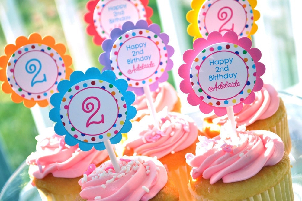 Birthday cupcake toppers birthday party decorations 1st for 2nd birthday party decoration