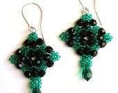 Beadwoven earrings, Gothic dangle diamond beadwork, teal green and black handmade, gift for her