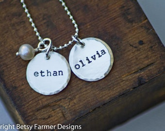 Two Names Hand Stamped Jewelry Personalized Sterling Silver Necklace