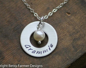Grammie Necklace - Hand Stamped Sterling Silver - Washer with Pearl - Christmas Gift by Betsy Farmer Designs