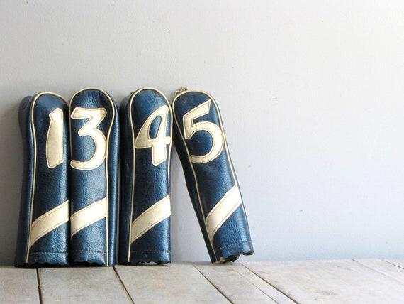 vintage retro blue golf club covers
