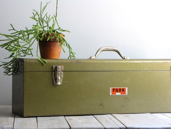 vintage oversized green toolbox